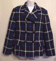 Planet UK14 EU42 US10 black/blue/white check 90% wool long-sleeved lined jacket