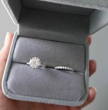 Ring Set 925 Sterling Silver 4Ct Round Moissanite Solitary Engagement Wedding