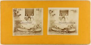 FRANCE Famille Les enfants c1900 Photo amateur Stereo Vintage Citrate