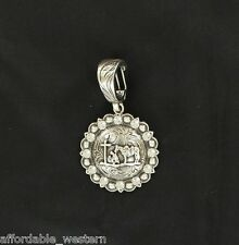 Cowgirl ~Prayer Cross ~ Western Crystal Charm Pendant Silver Round 29235 16