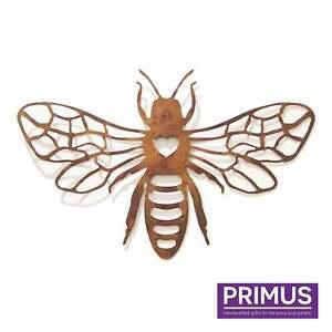 Primus Large Rusted Honeybee Metal Garden Silhouette Wall Art