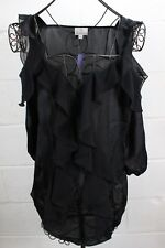 HOT IN HOLLYWOOD Black Romantic Ruffle Cold Shoulder Blouse Top L NWT HSN