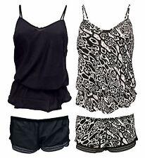 Ladies Black Leopard Print Elastic Waist Ruffle Cami and Shorts Pyjamas Set 12 UK 2 Pack (a B)