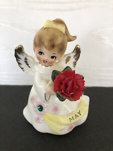 VINTAGE May Birthday Angel Porcelain Figurine 6224  LEFTON w/ tag