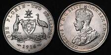 1916 H Australia Florin KM# 27 Sterling Silver Coin George V RARE gEF/AU +Lustre