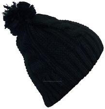 """Best Winter Hats Women's Cable Knit Cuffless Cap W/3 1/2"""" Pom Pom #865 Black"""