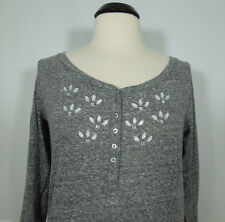 HOLLISTER Beads Embellished Gray Henley Top with 3/4 sleeves Juniors size L