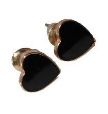 Black Stone Heart Shape Stud Earring (9mm)