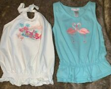Lot of 2 Janie & Jack Flamingo Summer Embroidered Girls Halter and Tank Tops