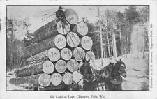 Big Load of Logs, Chippewa Falls, Wisconsin Logging Wagon 1909 Vintage Postcard