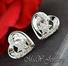 925 Sterling Silver Rhodium Plated Stud Earrings HEART with ZIRCONIA