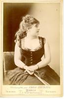 E. Tourtin, Une commédienne nommé Foliot vintage print, Carte cabinet  Tirage