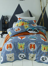 Funny Faces Single Bed Boys Girls Blue Quilt Cover Set Jiggle Giggle Doona Cover