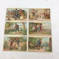 "LIEBIG S-176 ""PUZZLES I (HIDDEN OBJECTS)"" FULL SET 6 VINTAGE TRADE CARDS 1886 FR"