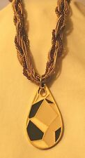 Lovely Beige Amber & Gold Twist Cord Etched Sectioned Teardrop Pendant Necklace
