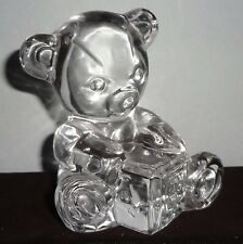 Vintage Signed Waterford crystal glass Teddy Bear Holding A Toy Block - Mint