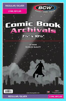 50 BCW SILVER / REGULAR MYLAR 2 MIL COMIC BOOK BAGS Clear Archival Safe Storage