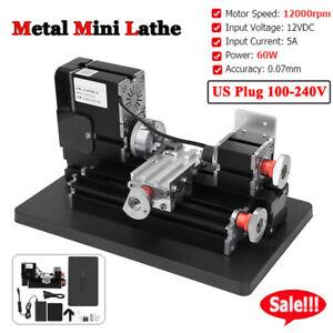 60W 12000rpm Metal Mini Lathe for Wood Plastic Processing Lathe US Plug 100-240V