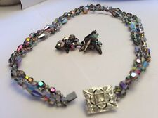 "Austrian Crystal Faceted Aurora Borealis 23"" Necklace Earrings Rhinestone Clasp"