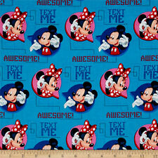 DISNEY  MICKEY & MINNIE MOUSE AWESOME TEXT ME 100% COTTON FABRIC BY THE 1/2 YARD