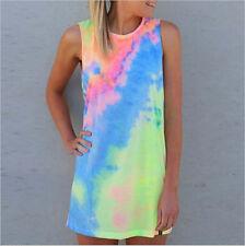 Women's Summer Sleeveless Shiny Tie-dye Round Neck Rainbow Long Top Mini Dress