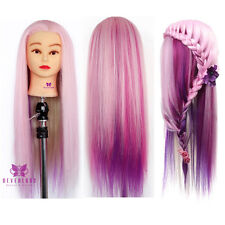 "24"" Pink Synthetic hair Hairdressing Training Head Salon Mannequin Model + Clamp"