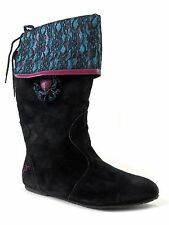 Pastry Women's Fiorellino Mid to Knee Boots Black & Plaid Grape Suede Size 7 M