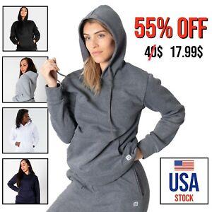 Women Fleece Hoodie Long Sleeve Plain Sweatshirt  Hooded Pullover Shirt Top Cozy