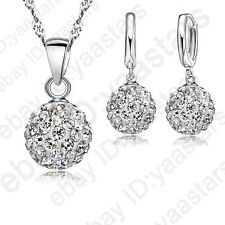 Top Quality Silver Austria Crystal Disco Ball Necklace Earring Jewelry Gift Set