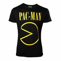 Mens Pac-Man Logo Band Inspired Black T-Shirt Retro Tee - Crew Neck Gamers