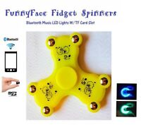 New Funny Face Fidget Hand Spinner Bluetooth LED Lights Music - TF/ Card Player