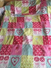 Hearts Butterflies Flowers Pink Lime Single Duvet Cover & Pillowcase Set