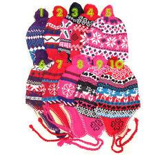 4x Winter Peruvian Ear Flap Ski Hat Beanie Cap Snow Flakes Women's Pick Patterns