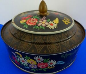 ART DECO  VINTAGE ROUND BISCUIT TIN WITH  FLORAL DECORATION
