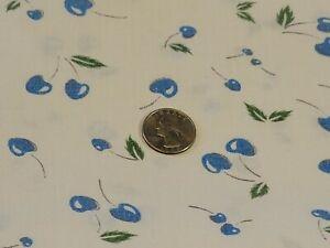 FULL Vintage feedsack, still a sack, Blue Cherries on White #1