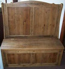 RUSTIC OLD PINE MONKS SETTLE HALL BENCH MADE TO ANY SIZE IDEAL FOR SHOE STORAGE