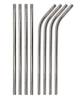 Silver Stainless Steel Reusable Metal Drinking Straws Bent Straight Short Gin