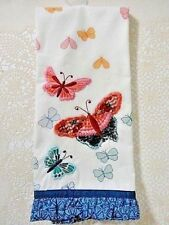 Embroidered Butterfly Kitchen Tea Towel Blue Border Butterflies Garden Decor A