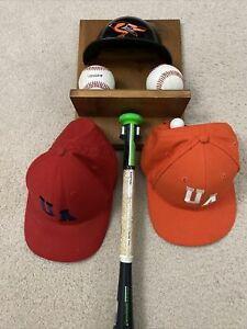 Wood Display Wall Shelf Baseball Bat Ball Glove Hat Holder Decor Orioles HELMET