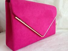 NEW NUDE ROYAL BLUE NAVY PURPLE LILAC FUSCHIA FAUX SUEDE EVENING DAY CLUTCH BAG