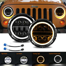 "Pair 7"" 280W LED Headlight Hi/Lo Halo Ring DRL For Jeep Wrangler CJ JK TJ LJ"