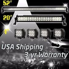 """52Inch LED Light Bar Combo + 20in +4"""" CREE PODS OFFROAD SUV 4WD ATV JEEP FOG 50"""