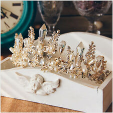 Queen Baroque Bridal Wedding Gold Crystal Pearl Crown Tiara Headband Headpiece