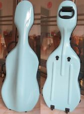 Beautiful light blue fiberglass hard cello case 3/4  w/ wheells