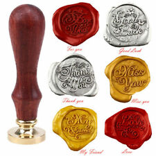 1x Wooden Handle Pattern Seal Wax Stamp Wedding Invitation Letter Card Envelope
