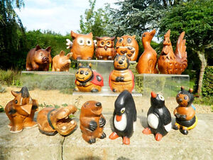 Wooden Animal Carvings - Hand Carved Assorted Pairs Of Animals