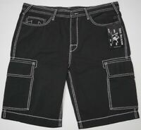 NWT $149 True Religion Cargo Shorts Mens Size 40 42 Black 100% Cotton NEW