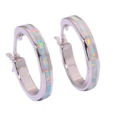 Fashion White Fire Opal Silver Party Women Jewelry Gemstone Hoop Earrings OH2900