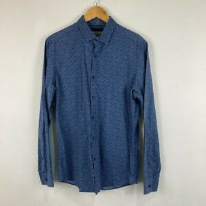 Witchery Mens Button Up Shirt Size Medium Blue Floral Long Sleeve Collared 66.25