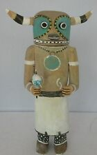 Old Native American horned big Kachina carved wood painted signed hallmark